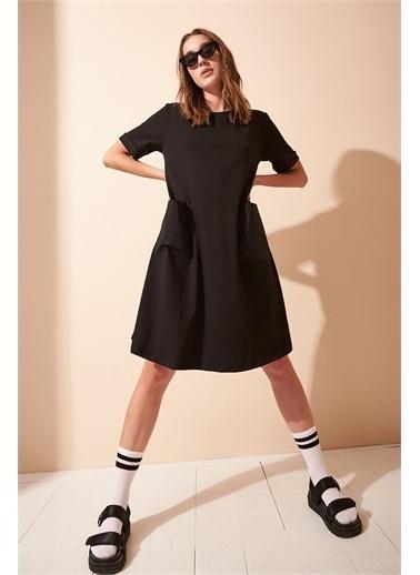 Never More Cep Detaylı Basic Siyah Elbise Siyah